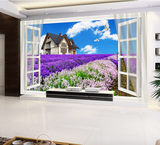 New square drill full drill cross-stitch window lavender home TV background wall HD 3d stereoscopic painting