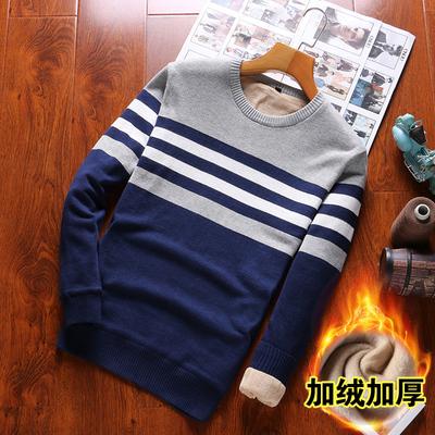 加绒保暖长袖T恤男装纯棉男士针织衫冬季加厚打底衫男上衣服潮流
