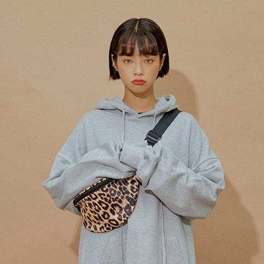 韩国官网代购chuu百搭ins时尚复古个性豹纹单肩包斜挎包腰包