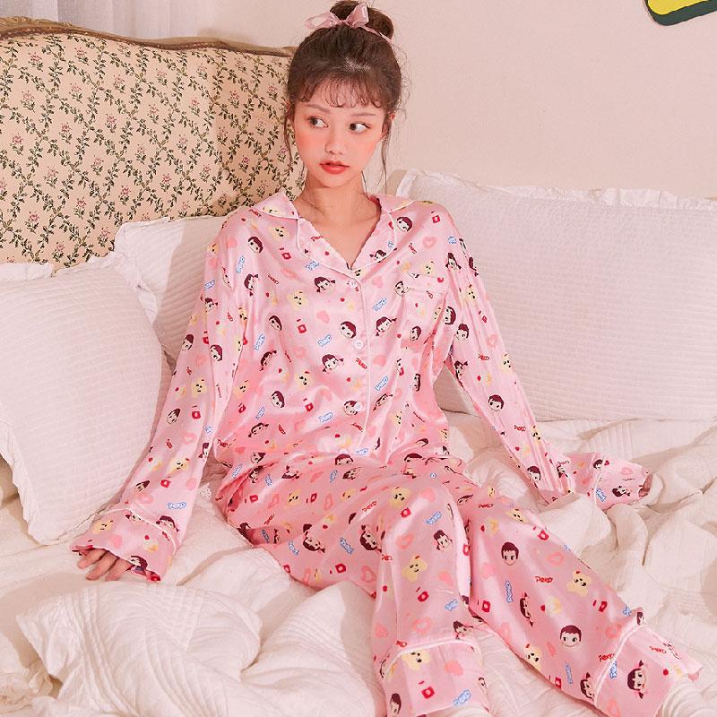 韩国官网代购chuu独立设计peko不二家系列卡通印花丝质睡衣套装