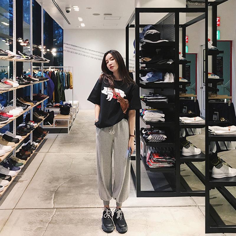 2019夏季新款韩版海边度假显瘦俏皮女神网红阔腿裤短袖时尚两件套