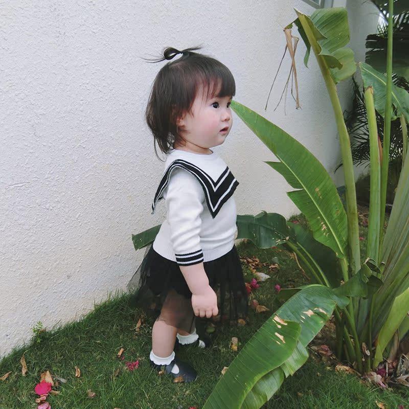 2018新款学院风婴儿外套01-2-3岁宝宝方领毛衣春季女童毛线衣百搭