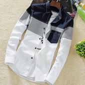 帅气长袖 潮流休闲衬衣外套个性 白寸衫 男2019新款 ifashion衬衫 韩版图片