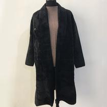 2018反季长款貂绒皮草外套女韩版开衫V领加厚保暖风衣冬装721