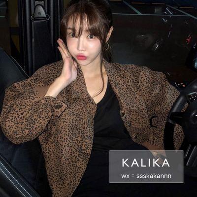 韩国东大门秋新款INS网红洋气时髦官网同款豹纹休闲长袖夹克外套