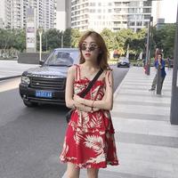 夏季小清新法式复古山本法国小众很仙超仙女甜美桔梗气质吊带裙