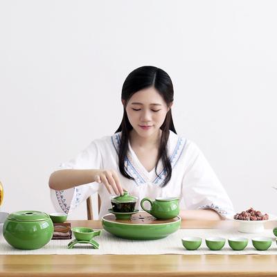 连连旺高档成艺陶瓷 颜色釉 茶具套组 茶盘套装 颜色釉盈福茶盘