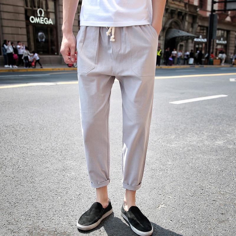 休闲裤修身黑