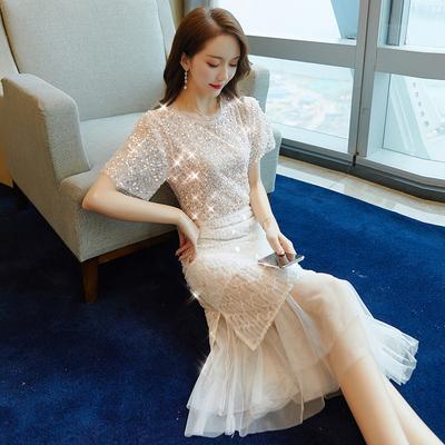 夏装2019网红套装新款女装名媛气质时尚两件套裙子过膝亮片连衣裙
