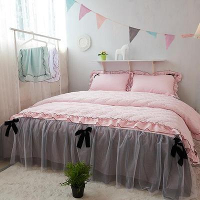 小清新全棉床裙蝴蝶结蕾丝花边绗缝韩式简约粉色公主风四件套床单打折促销