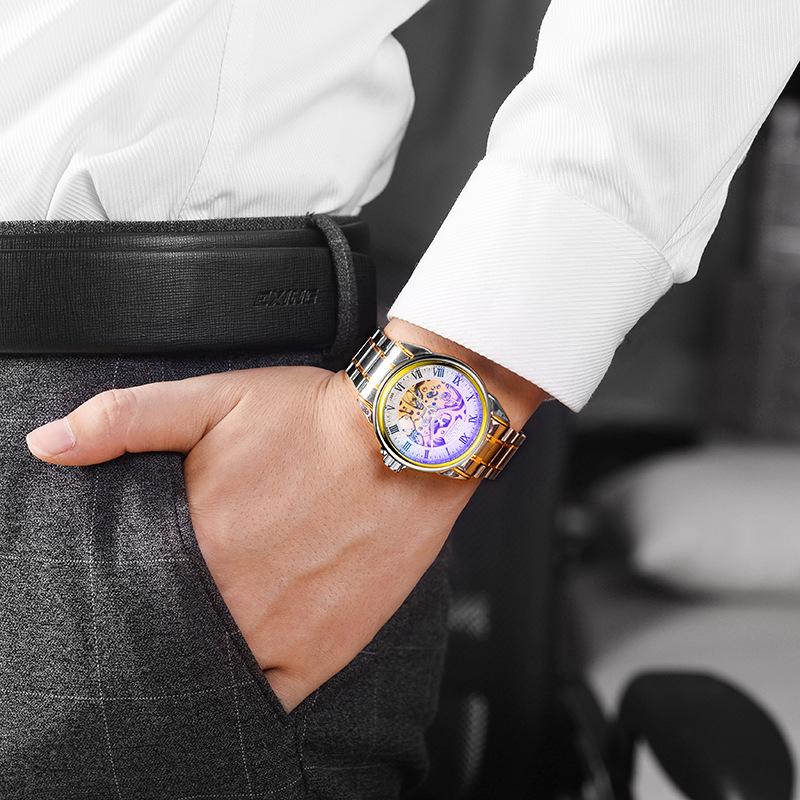 手表男机械表男表全自动镂空陀飞轮精钢学生皮带夜光防水男士手表
