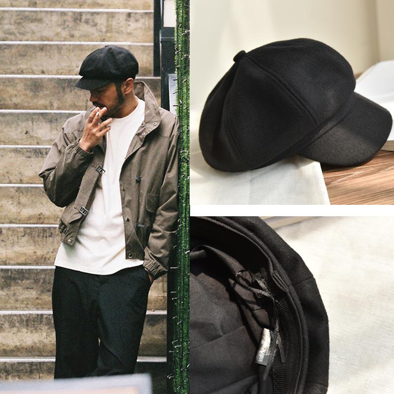 日系男士黑色帽子秋冬天新品百搭时尚显瘦画家帽贝雷帽潮人八角帽