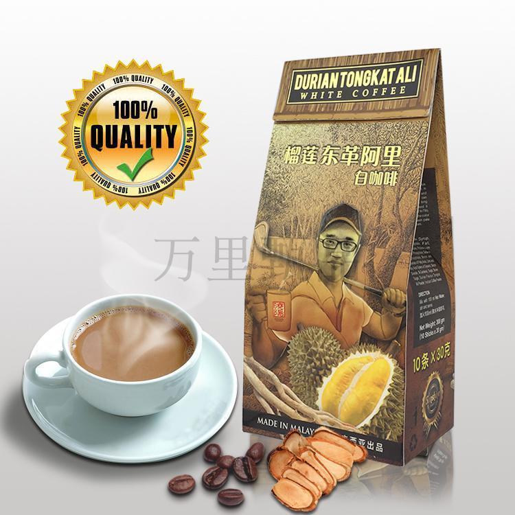 马来西亚进口咖啡东革阿里榴莲白咖啡三合一速溶提神特浓咖啡条装