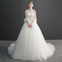 法式婚纱礼服2018新款拖尾新娘女冬季简约公主梦幻星空森系赫本风