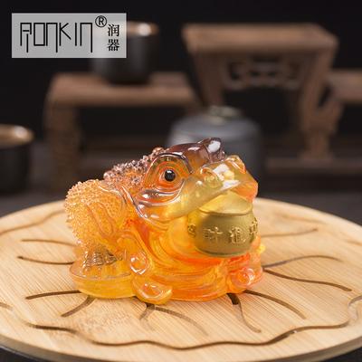 ronkin 透明树脂茶宠茶具配件手工精品茶玩变色金蟾茶盘摆件