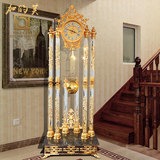 European style grandfather clock sitting room grandfather clock simple crystal grandfather clock gold pure copper home fortune furniture grandfather clock