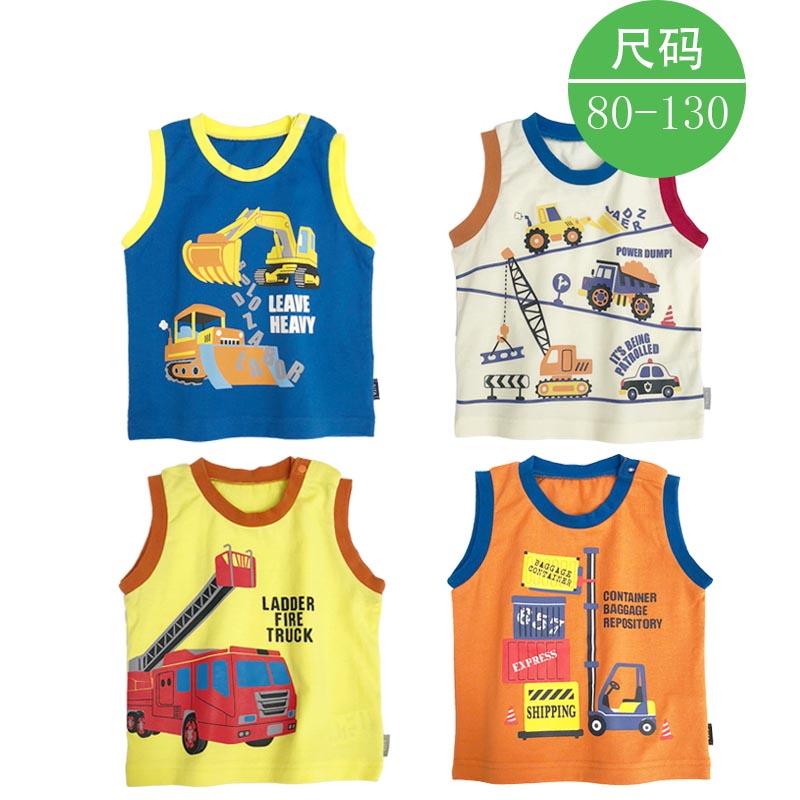 出口日本千趣会童装无袖背心纯棉宝宝夏季卡车T恤千家婴儿童吊带