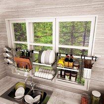 304不锈钢厨房置物架免打孔壁挂式挂架省空间跨窗墙上收纳调料架