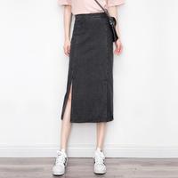 2017夏季韩版新款chic港味中长款复古牛仔裙女显瘦学生半身裙高腰