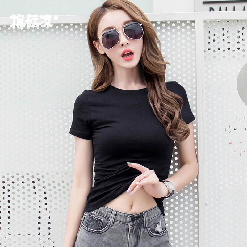 纯棉短袖女士2019新款潮夏黑色t恤紧身上衣修身网红短款纯色体恤