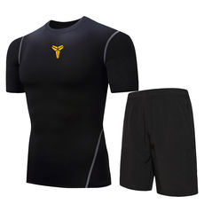 9d207dcc30f88 Sports suit men's quick-drying tights short-sleeved gym basketball training  suit running morning