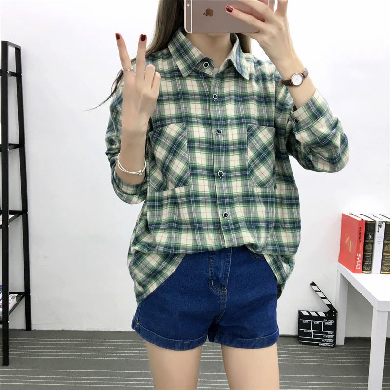 格子衬衫女春外搭韩版bf学生宽松大码蝙蝠袖长袖薄款潮流情侣衬衫