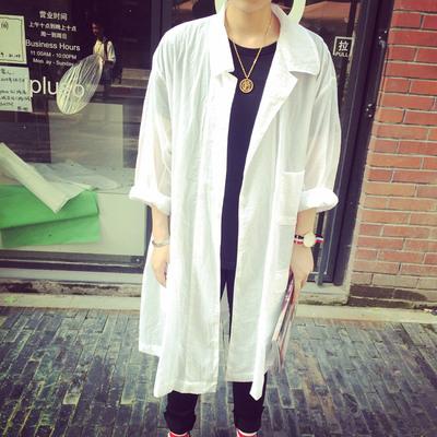 韩版宽松夏季晒衣服男女轻薄透气情侣中长款风衣外套纯色简约