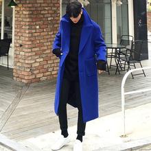 2019秋冬新款 韩版 双面羊绒长款 毛呢大衣宝蓝色宽松毛呢外套潮男