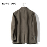 RURU/TOTO spring and autumn double-faced suits Korean version of the self-cultivation wool woolen coat woolen coat male short paragraph Nizi