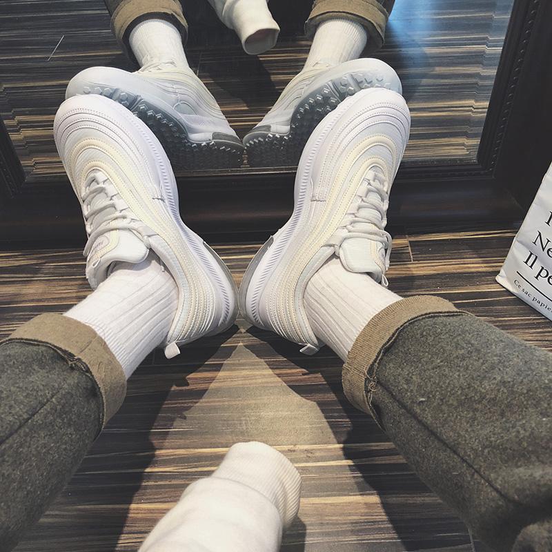 休闲跑步鞋低帮鞋男 ins 鞋子复古气垫运动鞋 炒鸡好看 两点浪漫