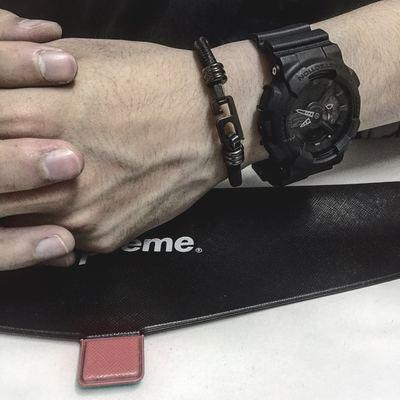 香港潮牌NO. 6 ALL BLACK余文乐救生绳数字6男女钛钢手链情侣手环