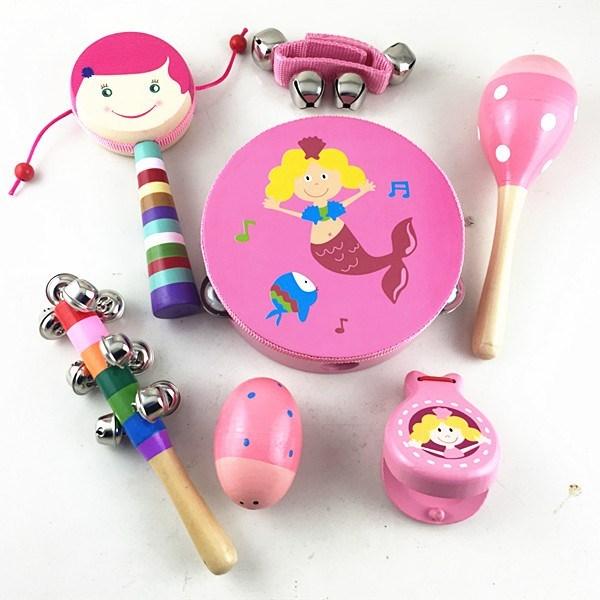 早教礼物串铃鼓初生手摇铃铛婴儿沙球0-3-6-12岁宝宝木制音乐套装