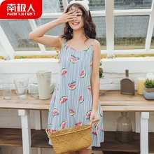 Antarctic Sleeping Skirt Female Summer Suspender Cotton Korean Edition Cute Sleepwear Home Clothing Student vest sleeveless