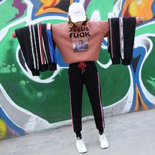 加绒ins运动裤女学生韩版宽松休闲裤冬季新款bf校服裤超火的裤子