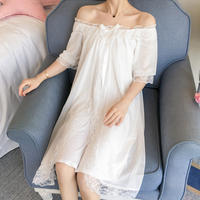 Palace pajamas women's summer thin section ice silk lace nightdress female summer cotton princess wind Korean version loose wearable