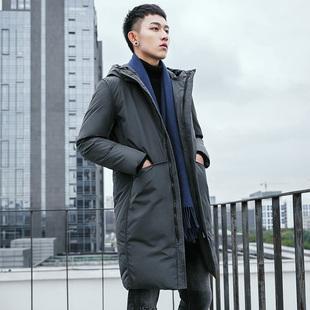 2018新款韩版加厚连帽中长款棉衣男装反季羽绒棉服棉袄冬季外套男