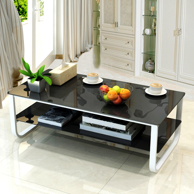 多功能茶几简约现代钢化玻璃实木客厅大小户型组装茶几桌个性迷你