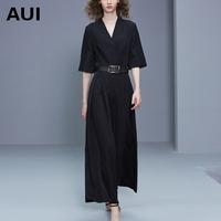 aui2018夏季新款名媛时尚气质黑色高腰垂感阔腿裤连体裤女夏长裤