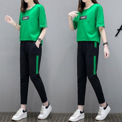 短袖休闲运动服套装2018夏季新款时尚宽松大码女装显瘦纯棉两件套