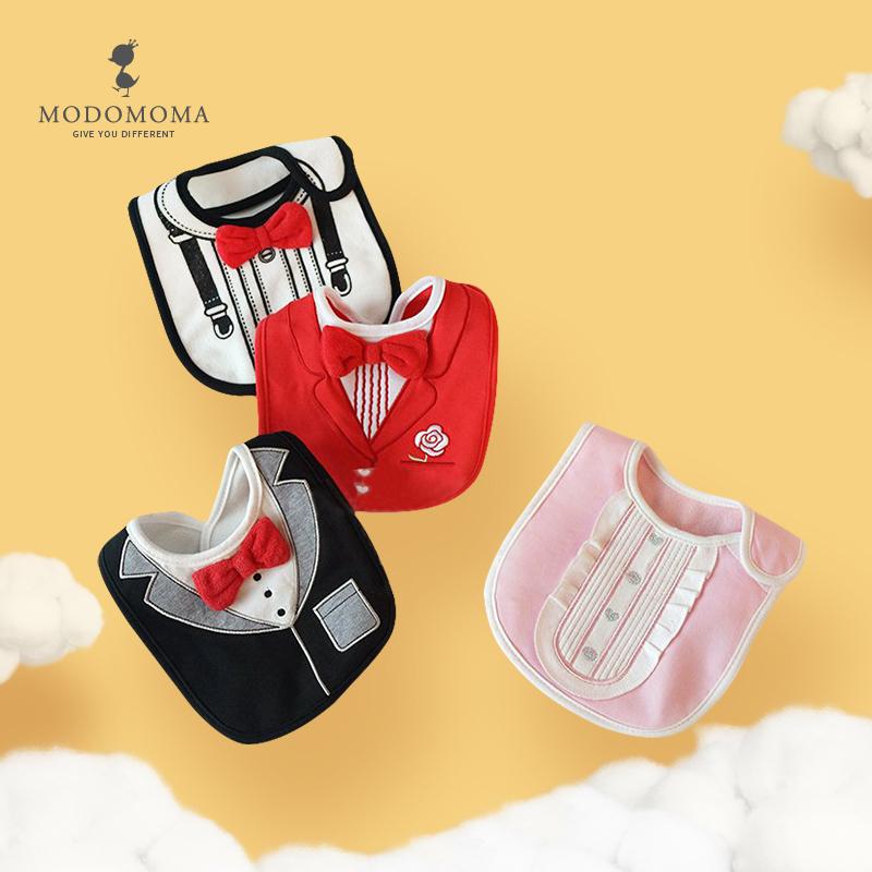 modomoma婴儿用品棉三层防水口水巾一岁宝宝礼服围兜罩衣 吃饭衣