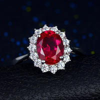 Dai Fei Ruby Ring 925 Sterling Silver Inlay Carat Pigeon Blood Red Treasure Jewelry Ring Plating 18K Gold Female