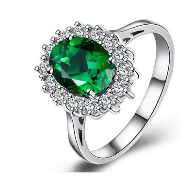 戴妃款祖母绿彩宝戒指925纯银镶嵌彩色宝石珠宝指环镀18K金女饰品