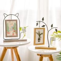 现代简约铁艺相框摆台创意小清新6寸木质相片框水培花瓶桌面摆设