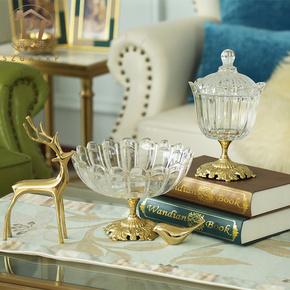 欧式小奢华纯铜水晶玻璃水果盘创意现代客厅茶几气质简约家用套装