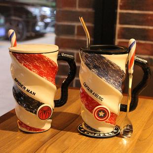 创意简约办公室陶瓷个性大容量马克咖啡杯带盖勺男女生家用喝水杯