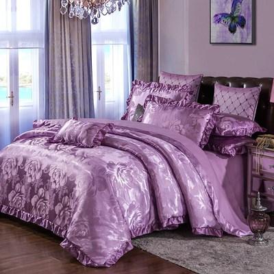 欧式贡缎床罩床裙四件套纯棉床套全棉提花被套4件套1.8m2米床品