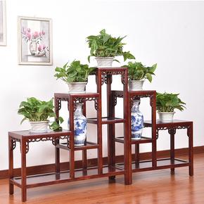 中式实木花架榆木客厅室内多层木制仿古红木整装木质盆景架花盆架