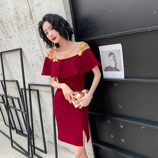 显瘦新娘夏款红色女2019敬酒服肩连衣裙
