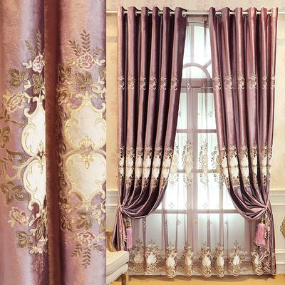 欧式窗帘定制高档成品美式客厅卧室紫色丝绒绣花落地遮光窗帘布爆款