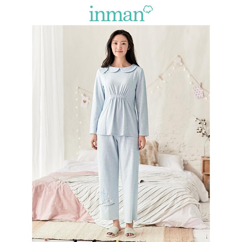 茵曼内衣 舒适娃娃领长袖睡衣女士家居服套装 0425A